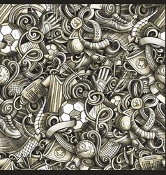 Cartoon doodles football seamless pattern vector