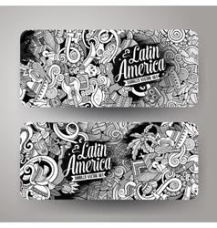 Cartoon hand-drawn doodles Latin American banners vector image