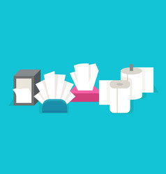 cartoon tissue flat rolled paper napkins and hand vector image