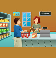 Cashier working in the grocery store vector