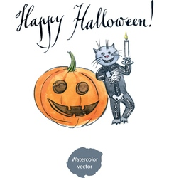 cat wearing a skeleton costume watercolor hand vector image