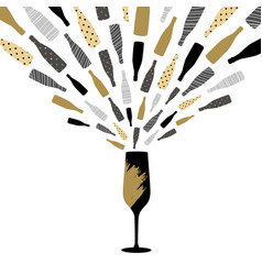 champagne glass with splash greeting card vector image