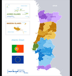 colorful political map portugal vector image