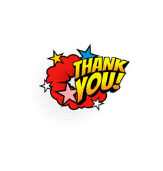 comic thank you burst explosion isolated boom bang vector image
