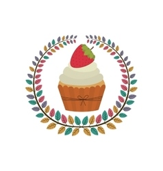 Crown of leaves with cupcake with cream and vector