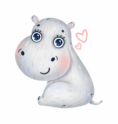 Cute baby hippo with big eyes and hearts vector
