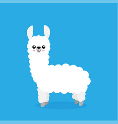 Cute cartoon alpaca drawing on bright background vector
