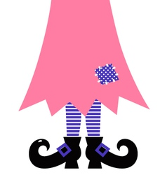 Cute Witch Legs isolated on white - pink vector image