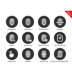 Dactylogram icons on white background vector image