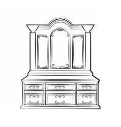 Dressing table with ornamented mirror vector image