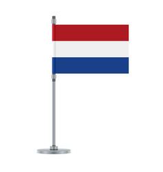 Dutch flag on the metallic pole vector