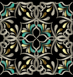 embroidery floral seamless pattern ethnic style vector image