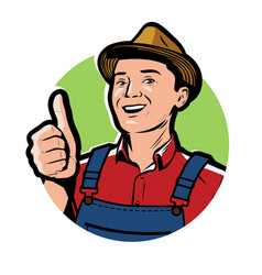 farmer with hat logo or symbol farm agriculture vector image