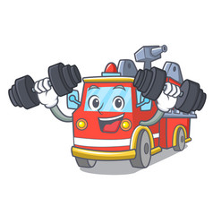 fitness fire truck character cartoon vector image