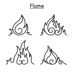 flame fire burn in thin line style vector image