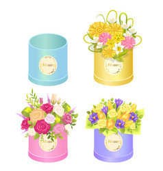 Flowers in boxes set of spring ddelicious bouquets vector