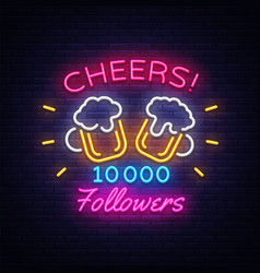 follow memphis neon sign cheers party vector image