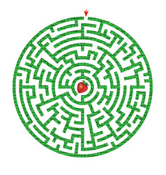 Green circle maze with strawberry inside vector