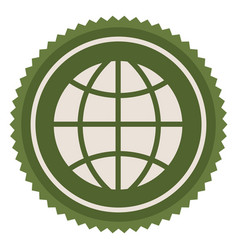Green emblem earth planet icon vector