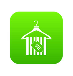 hanger with sale tag icon digital green vector image