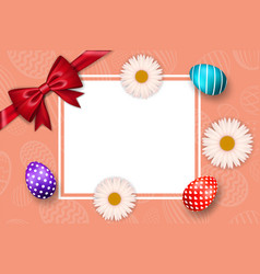 happy easter background textured eggs ribbon bow vector image