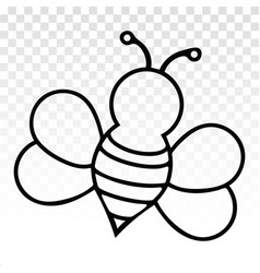 Honey bee or wasp -line art icon on a transparent vector