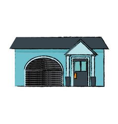House residence exterior garage door windows vector