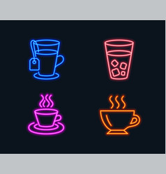 Ice tea tea cup and coffee icons soda beverage vector