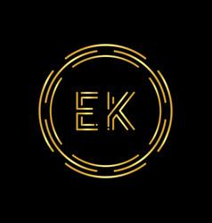 initial ek letter logo with creative modern vector image