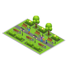 Isometric city park concept vector