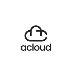 letter a and c with cloud logo design concept vector image