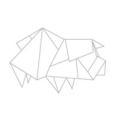 linear black and white drawing with origami pig vector image