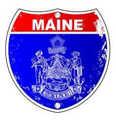 maine flag as a interstate sign vector image