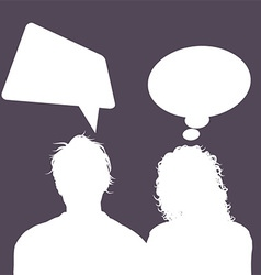 male and female avatars with speech bubbles 1503 vector image