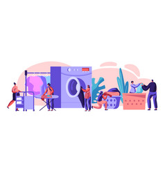 male and female characters visiting laundry vector image