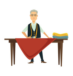 male designer works on new outfit at table vector image