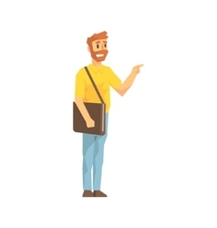 Man with post handbag ringing the door delivery vector