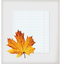 Maple leaf and writing book vector image