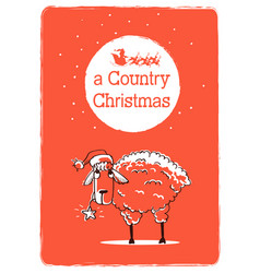 Merry country christmas card with sheep and santa vector