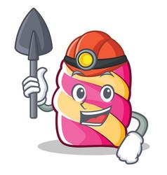 miner marshmallow character cartoon style vector image