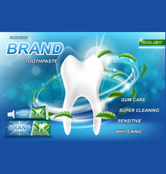 Mint toothpaste concept ads isolated on blue vector