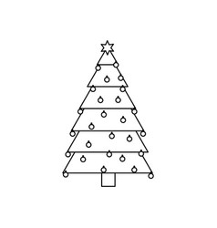 monochrome silhouette of christmas tree with trunk vector image