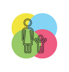 mother and child family icon vector image