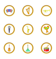 music instrument icons set cartoon style vector image