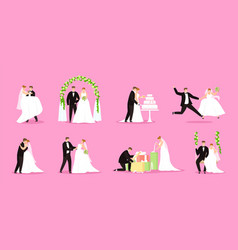 Newlywed just married couple bride and groom vector