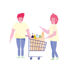 People hoarding purchase young men with shopping vector