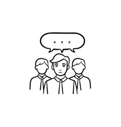 people teamwork hand drawn sketch icon vector image