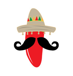 pepper with a mustache and a mexican hat vector image