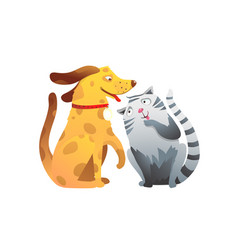 Puppy doggy and kitten cat company forever best vector