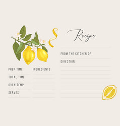 Recipe card template with hand drawn lemons vector